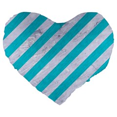 Stripes3 White Marble & Turquoise Colored Pencil (r) Large 19  Premium Flano Heart Shape Cushions by trendistuff