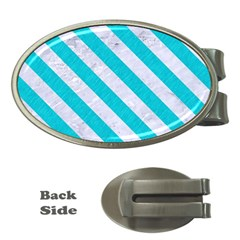Stripes3 White Marble & Turquoise Colored Pencil Money Clips (oval)  by trendistuff