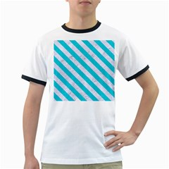 Stripes3 White Marble & Turquoise Colored Pencil Ringer T Shirts