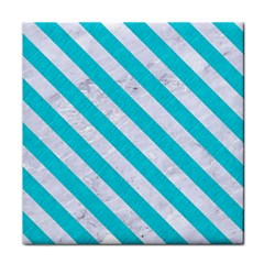 Stripes3 White Marble & Turquoise Colored Pencil Face Towel by trendistuff