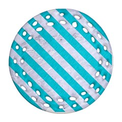 Stripes3 White Marble & Turquoise Colored Pencil Ornament (round Filigree) by trendistuff