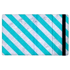 Stripes3 White Marble & Turquoise Colored Pencil Apple Ipad 2 Flip Case
