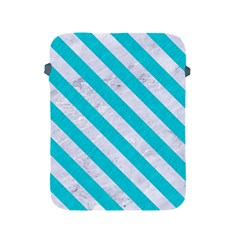 Stripes3 White Marble & Turquoise Colored Pencil Apple Ipad 2/3/4 Protective Soft Cases by trendistuff