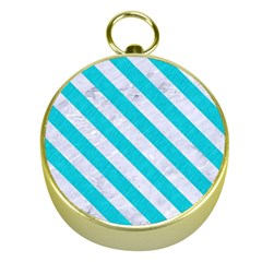 Stripes3 White Marble & Turquoise Colored Pencil Gold Compasses by trendistuff