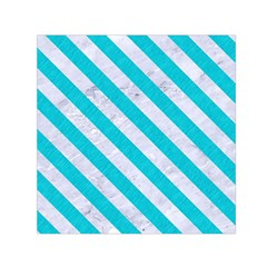 Stripes3 White Marble & Turquoise Colored Pencil Small Satin Scarf (square) by trendistuff