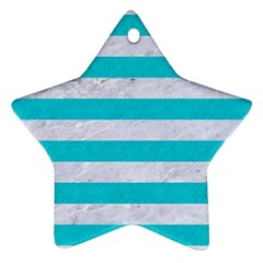 Stripes2white Marble & Turquoise Colored Pencil Ornament (star) by trendistuff