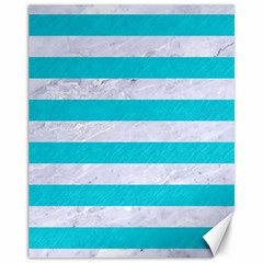 Stripes2white Marble & Turquoise Colored Pencil Canvas 11  X 14   by trendistuff
