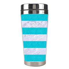 Stripes2white Marble & Turquoise Colored Pencil Stainless Steel Travel Tumblers by trendistuff