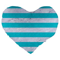 Stripes2white Marble & Turquoise Colored Pencil Large 19  Premium Flano Heart Shape Cushions by trendistuff