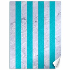 Stripes1 White Marble & Turquoise Colored Pencil Canvas 36  X 48