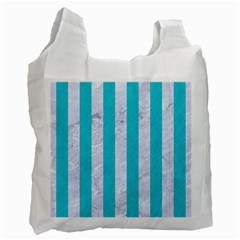 Stripes1 White Marble & Turquoise Colored Pencil Recycle Bag (two Side)  by trendistuff