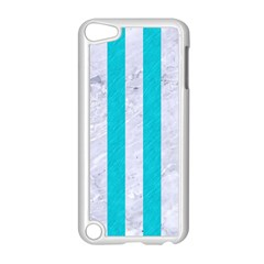Stripes1 White Marble & Turquoise Colored Pencil Apple Ipod Touch 5 Case (white) by trendistuff