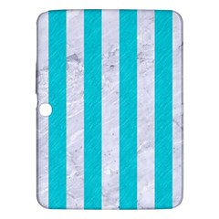 Stripes1 White Marble & Turquoise Colored Pencil Samsung Galaxy Tab 3 (10 1 ) P5200 Hardshell Case  by trendistuff