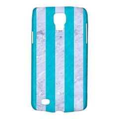 Stripes1 White Marble & Turquoise Colored Pencil Galaxy S4 Active