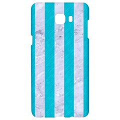 Stripes1 White Marble & Turquoise Colored Pencil Samsung C9 Pro Hardshell Case  by trendistuff