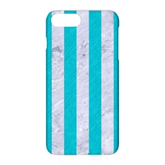 Stripes1 White Marble & Turquoise Colored Pencil Apple Iphone 8 Plus Hardshell Case by trendistuff