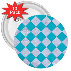 Square2 White Marble & Turquoise Colored Pencil 3  Buttons (10 Pack)  by trendistuff
