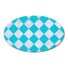 Square2 White Marble & Turquoise Colored Pencil Oval Magnet by trendistuff