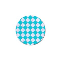 Square2 White Marble & Turquoise Colored Pencil Golf Ball Marker (10 Pack) by trendistuff