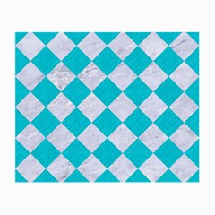Square2 White Marble & Turquoise Colored Pencil Small Glasses Cloth by trendistuff