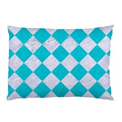 Square2 White Marble & Turquoise Colored Pencil Pillow Case by trendistuff