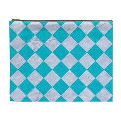 Square2 White Marble & Turquoise Colored Pencil Cosmetic Bag (xl) by trendistuff