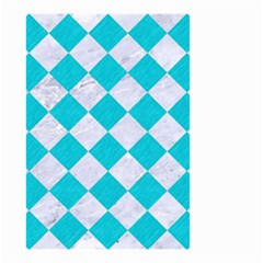 Square2 White Marble & Turquoise Colored Pencil Small Garden Flag (two Sides) by trendistuff