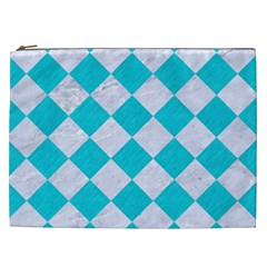 Square2 White Marble & Turquoise Colored Pencil Cosmetic Bag (xxl)  by trendistuff