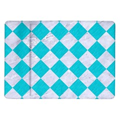 Square2 White Marble & Turquoise Colored Pencil Samsung Galaxy Tab 10 1  P7500 Flip Case by trendistuff
