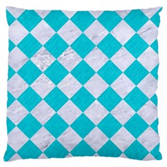 Square2 White Marble & Turquoise Colored Pencil Large Flano Cushion Case (one Side) by trendistuff