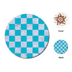 Square1 White Marble & Turquoise Colored Pencil Playing Cards (round)  by trendistuff