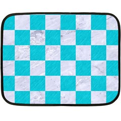 Square1 White Marble & Turquoise Colored Pencil Double Sided Fleece Blanket (mini)  by trendistuff