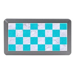 Square1 White Marble & Turquoise Colored Pencil Memory Card Reader (mini) by trendistuff