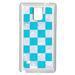 Square1 White Marble & Turquoise Colored Pencil Samsung Galaxy Note 4 Case (white) by trendistuff