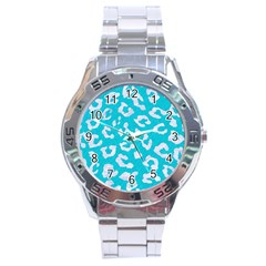 Skin5 White Marble & Turquoise Colored Pencil (r) Stainless Steel Analogue Watch by trendistuff