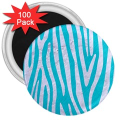 Skin4 White Marble & Turquoise Colored Pencil (r) 3  Magnets (100 Pack) by trendistuff