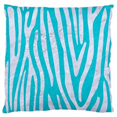 Skin4 White Marble & Turquoise Colored Pencil (r) Standard Flano Cushion Case (two Sides) by trendistuff