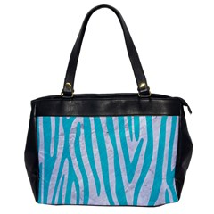 Skin4 White Marble & Turquoise Colored Pencil Office Handbags by trendistuff