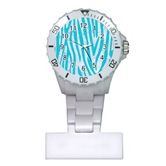 Skin4 White Marble & Turquoise Colored Pencil Plastic Nurses Watch by trendistuff