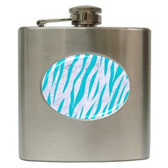 Skin3 White Marble & Turquoise Colored Pencil (r) Hip Flask (6 Oz) by trendistuff