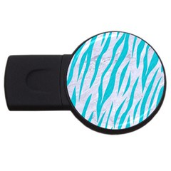 Skin3 White Marble & Turquoise Colored Pencil (r) Usb Flash Drive Round (4 Gb) by trendistuff