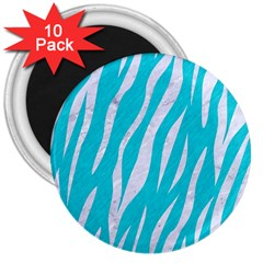 Skin3 White Marble & Turquoise Colored Pencil 3  Magnets (10 Pack)  by trendistuff