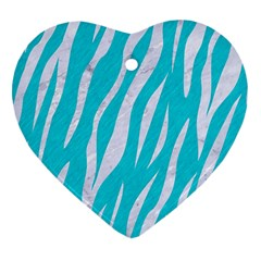Skin3 White Marble & Turquoise Colored Pencil Heart Ornament (two Sides) by trendistuff