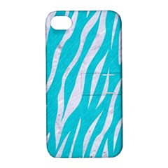 Skin3 White Marble & Turquoise Colored Pencil Apple Iphone 4/4s Hardshell Case With Stand by trendistuff