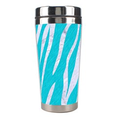 Skin3 White Marble & Turquoise Colored Pencil Stainless Steel Travel Tumblers by trendistuff