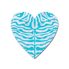 Skin2 White Marble & Turquoise Colored Pencil (r) Heart Magnet by trendistuff