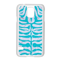 Skin2 White Marble & Turquoise Colored Pencil (r) Samsung Galaxy S5 Case (white) by trendistuff