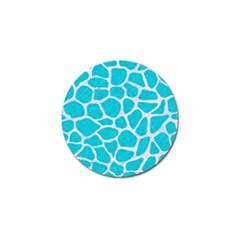 Skin1 White Marble & Turquoise Colored Pencil (r) Golf Ball Marker