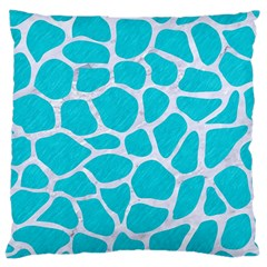 Skin1 White Marble & Turquoise Colored Pencil (r) Large Cushion Case (two Sides) by trendistuff