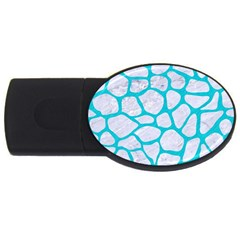 Skin1 White Marble & Turquoise Colored Pencil Usb Flash Drive Oval (2 Gb) by trendistuff
